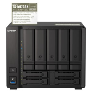 QNAP TS-h973AX Quad-core 9-bay QuTS hero NAS that supports U.2 NVMe SSD and 10GbE/2.5GbE connectivity -8G